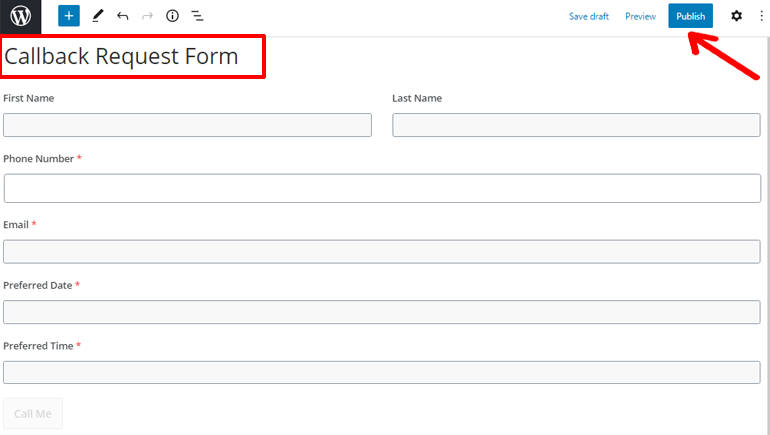 Publish Call Back Request Form