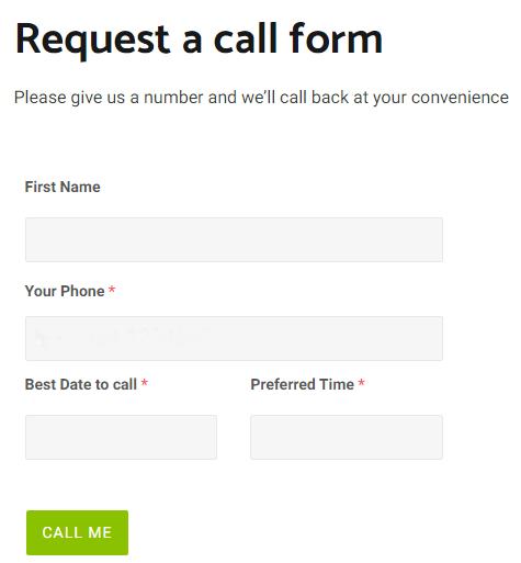 Request a Callback Form