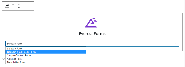 Selecting WordPress Request a Call Back Form