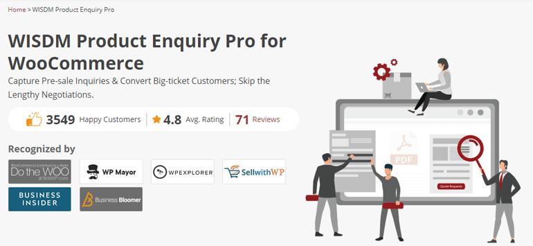 WISDM Product Enquiry Pro WooCommerce Plugin