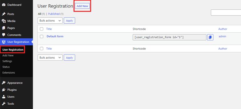 Add New Form Create Custom Login and Register Form