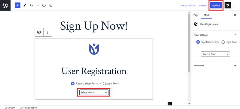 Alternative User Registration Block