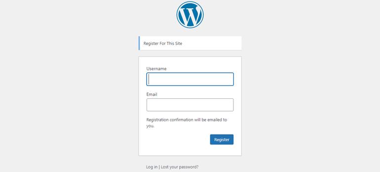 Default WordPress User Registration Form without Password Field