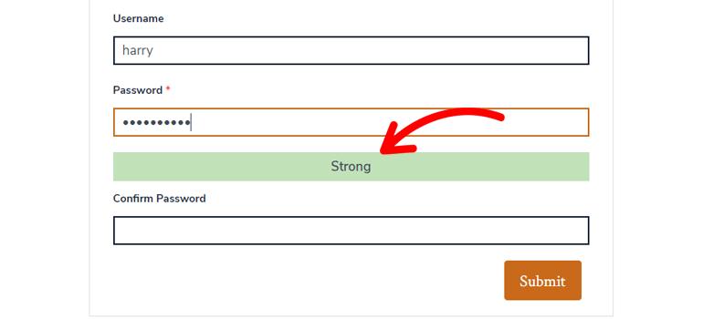 Strenghth Meter Enforce Strong Passwords WordPress