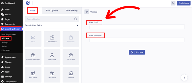User Registration Fields and Form