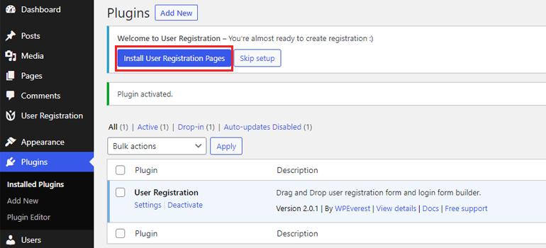User Registration Sample Pages Set Password on WordPress