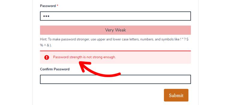 Weak Password Warning