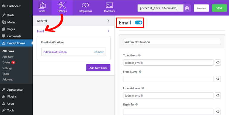 Email Setting Option