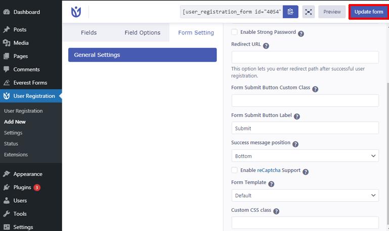 Form Configuration Option
