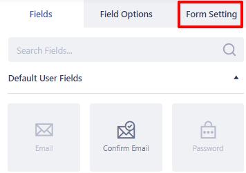 Form Setting Option