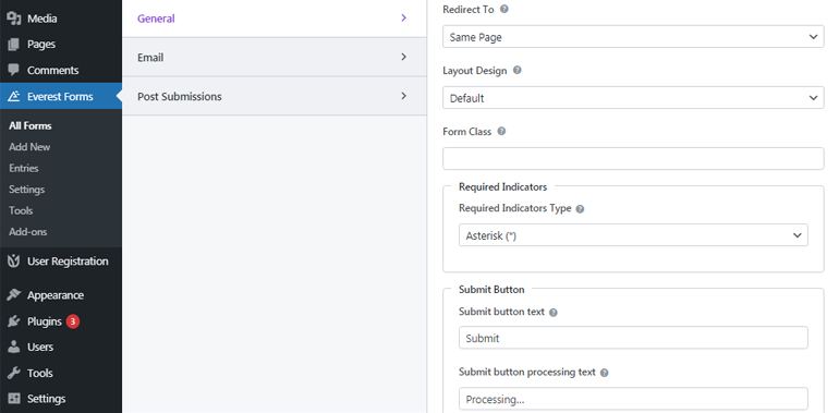 Redirect To and Submit Button Option